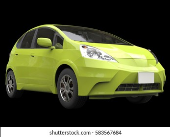 Toxic green metallic modern compact car - front closeup - 3D Render