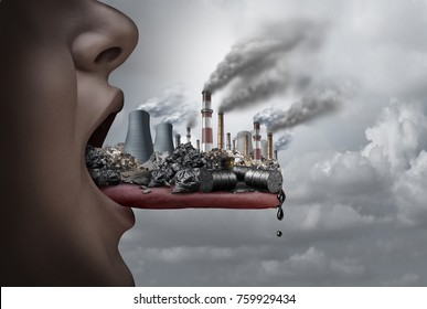 Toxic pollutants inside the human body and eating pollutants as an open mouth ingesting industrial toxins with 3D illustration elements.