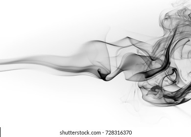 Toxic smoke movement isolated on white background, abstract black ink water