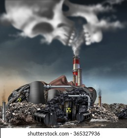 Toxic smoke symbol as a dirty industrial factory with garbage smoke stacks and a nuclear power plant shaped as a human face polluting the environment with toxins in the air shaped as a skull.