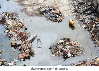 Toxic waste beside street  at Bangkok , Thailand [Photo 05 May 2017]