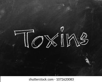 Toxins handwritten on Blackboard