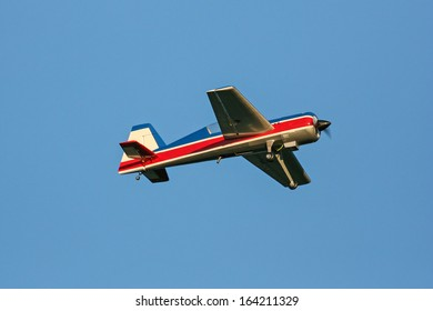 Toy airplane flying in the sky