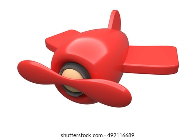 Toy airplane modern on white background, 3D rendering