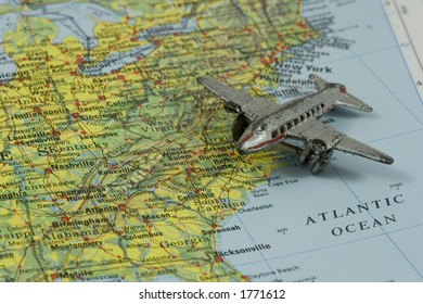 Toy Airplane On Map Southeastern USA Stock Photo (Edit Now) 2911450 ...