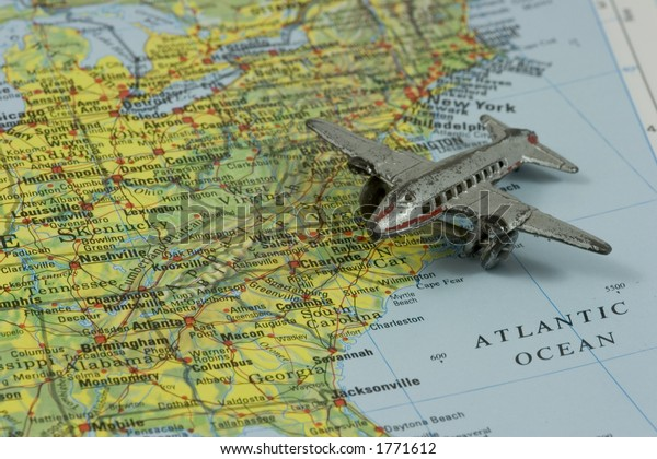 Toy Airplane On Map Southeastern Usa Stock Photo (Edit Now ...