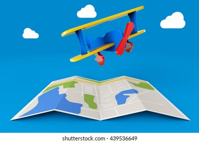 Toy Airplane over City Map on a blue background. 3d Rendering