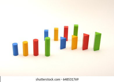 toy aligned wooden blocks multicolor bricks on white background