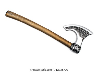 Toy battle axe isolated.