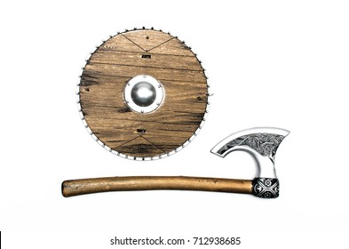 Toy Battle axe and shield isolated on white.