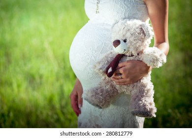 Toy bear cub against a stomach of the pregnant woman. The pregnant woman with a toy bear cub are walking on a meadow