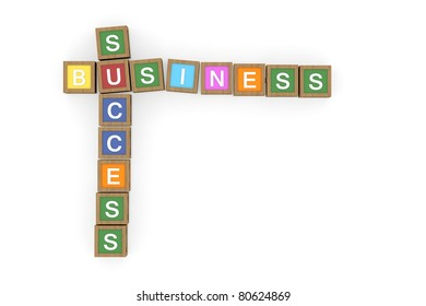 Toy block with success and business word