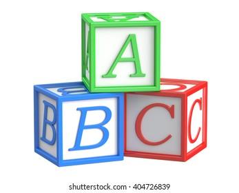 Toy blocks, abc cubes. 3D rendering