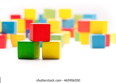 Toy Blocks Cubes, Three Wooden Babies Building Boxes, Empty Colored Cubics
