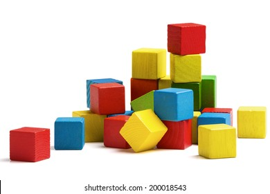 toy blocks heap, multicolor wooden bricks stack isolated white background