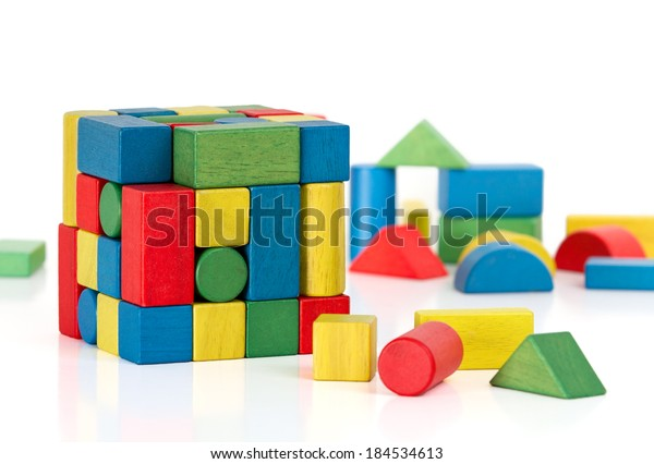 toy blocks jigsaw cube, multicolor puzzle rubic pieces over white background, overly tessellations