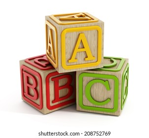 Toy blocks with letters A, B and C isolated on white