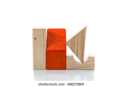 toy blocks, multicolor wooden bricks on white background .