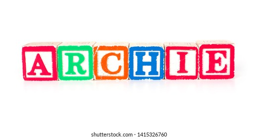 """Toy blocks spelling out the name """"ARCHIE"""""""