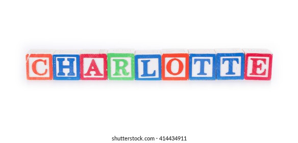 """Toy blocks spelling out the name """"CHARLOTTE"""""""