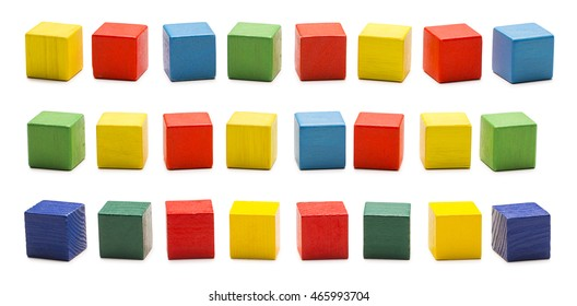 Toy Blocks, Wooden Cube Bricks, Colored Wood Cubic Boxes Set, White Isolated Clipping Path
