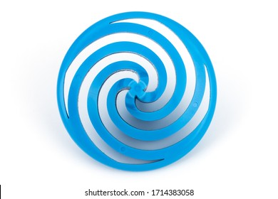Toy blue whirligig on a white background