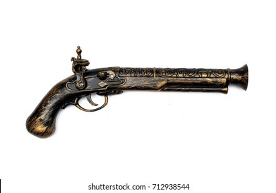 Toy blunderbuss. Pirate musket isolated on white.