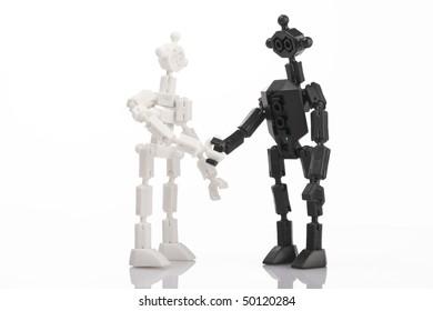 toy bricks people handshake on white background