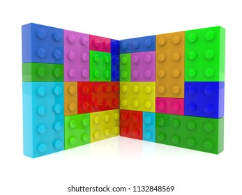 Toy bricks in various colors.3d illustration