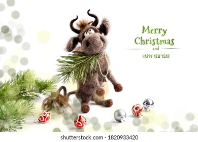 Toy bull. The bull is a symbol of the new year 2021. A knitted brown toy bull on a white background sits on its hind legs, with a pine branch in its mouth. Copy space, close-up, selective focus.
