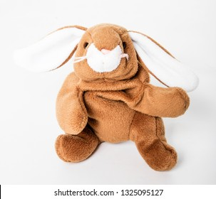 Toy bunny rabbit on a white background