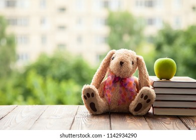 toy Bunny sitting back, lie next to a stack of books and a green Apple. Concept in anticipation of the new school year.