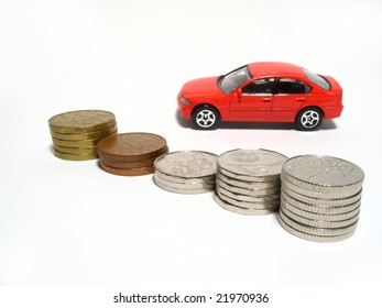 Toy car and coins