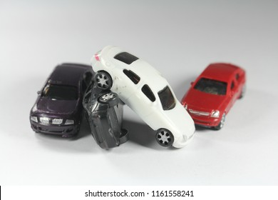Toy car collide White background