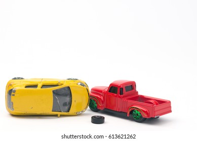 Toy car crashed. Car insurance concept.