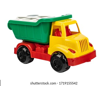 toy car dump truck made of plastic multicolored