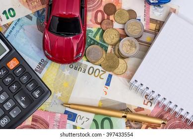 toy car, euro,  calculator