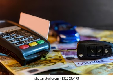 Toy car with euro and terminal with credit card