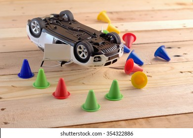 toy car Involved In Accident drunk drive concept