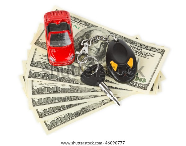 Toy car, keys and money isolated on white background