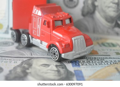 Toy car on money background, dollar, abstract, buy