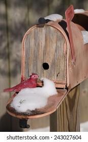 Toy Cardinal sitting on door of bird house mail box