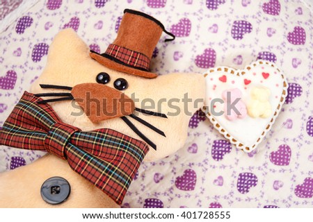 toy cat hat bow tie on stock photo edit now 401728555 shutterstock