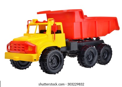 Toy cat truck isolated on white background
