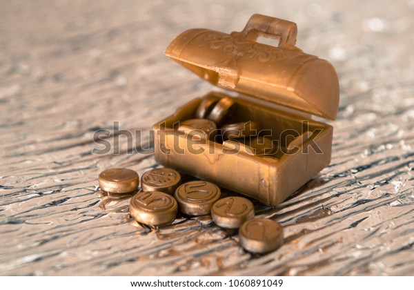 Toy chest with gold coins