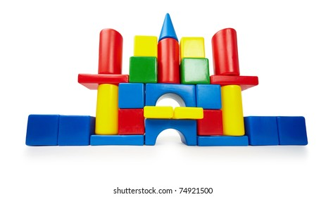 Toy color castle isolated on white background