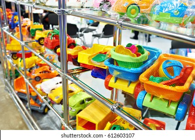 Toy colored plastic cars in the children's store