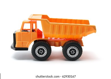 Toy Construction Tipper on White Background