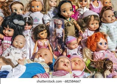 Toy dolls market stall in a flea market