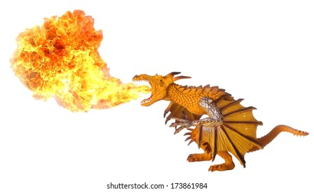 Toy dragon breathing out huge hot flame